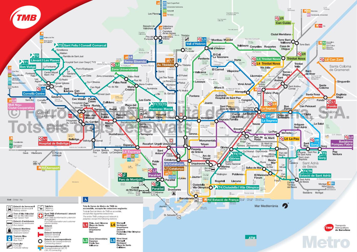 Carte Du Metro De Barcelone