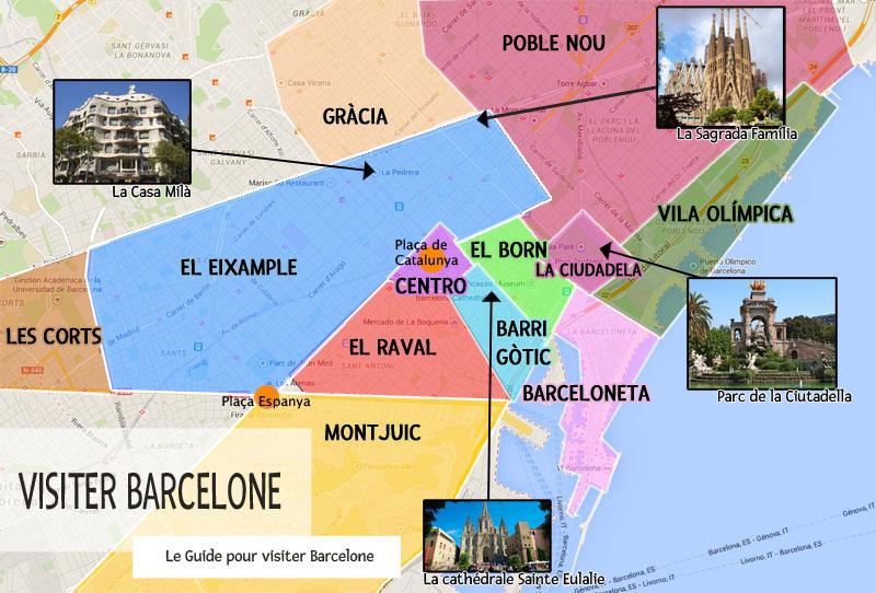 Carte Barcelone Place Despagne.Les Quartiers De Barcelone
